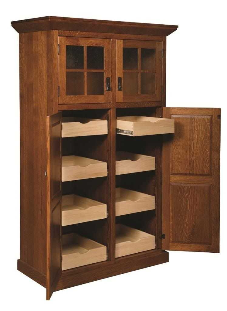 Amish Mission Stickley Rustic Kitchen Pantry Storage Cupboard Roll Pleasing Kitchen Pantry Storage Cabinet Inspiration