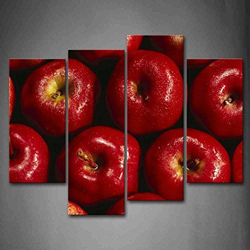 First Wall Art® - Red Apple With Water Drop Wall Art Pain...…