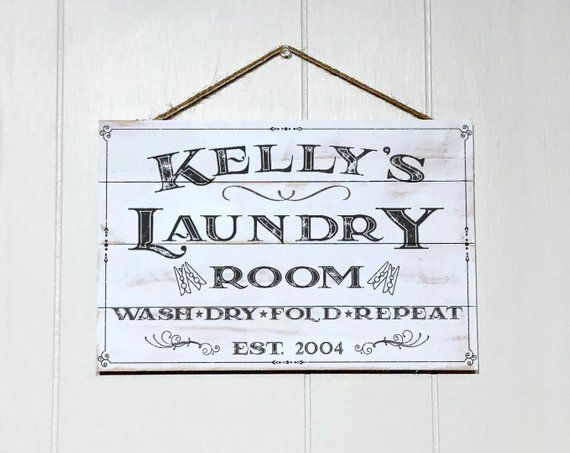 Personalized Laundry Room Decor Sign Custom Rustic Wood Laundry Sign Vintage Wood Pallet Sign Name And Established Year Laundry Room Decor Signs Wood Laundry Sign Wood Signs Home Decor