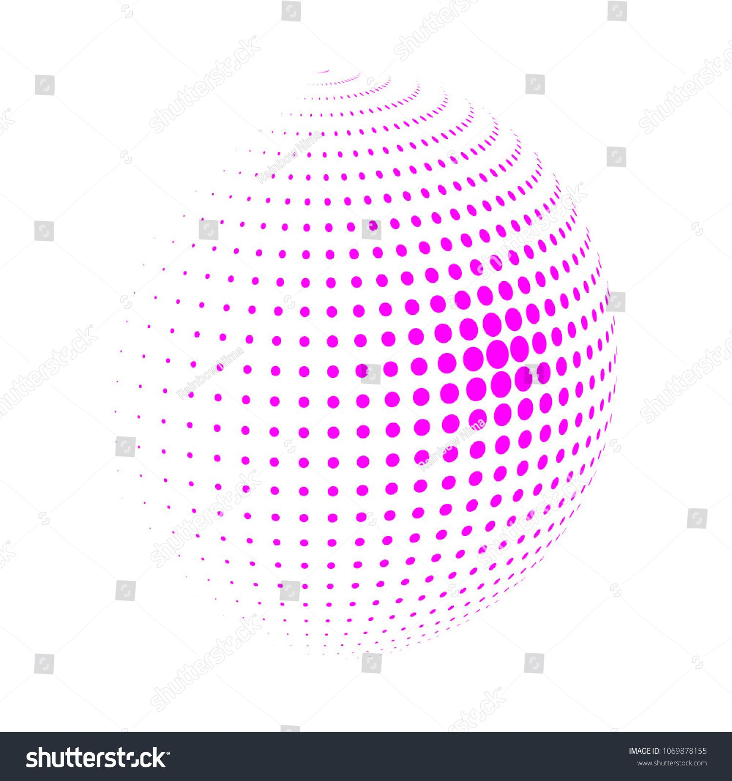 Dot Sphere Logo Template Globe Vector Icon: Abstract Globe Dotted Sphere , 3d Halftone Dot Effect. Pink