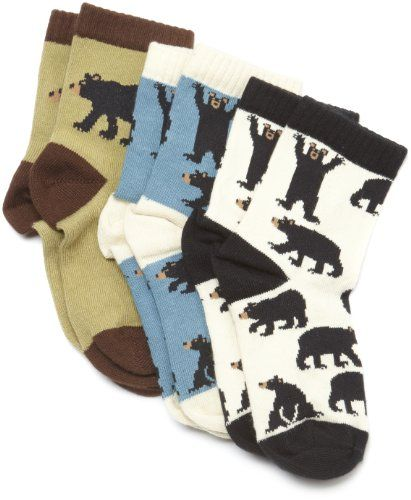 Hatley Boys Black Bear Animal Ankle Socks