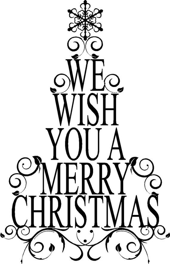 Merry Christmas Images Black And White.We Wish You A Merry Christmas Tree Decoration Vinyl Wall