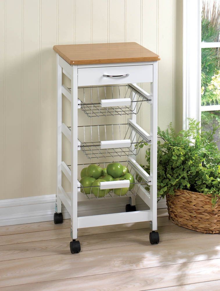 Kitchen Island Trolley kitchen island cart side table trolley storage baskets wood drawer