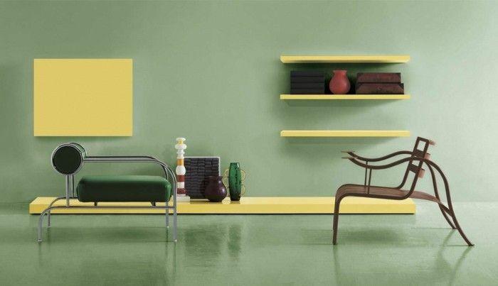 Interessante Gelbe Schränke Und Regale An Der Wand Moderne Wohnzimmer  Wandgestaltung
