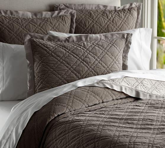 Washed Velvet Silk Quilt & Sham | Pottery Barn | Bedding ... : quilted silk bedspread - Adamdwight.com