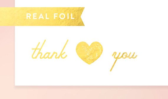 Real gold foil thank you stickers clear thank you labels gold foil wedding stickers