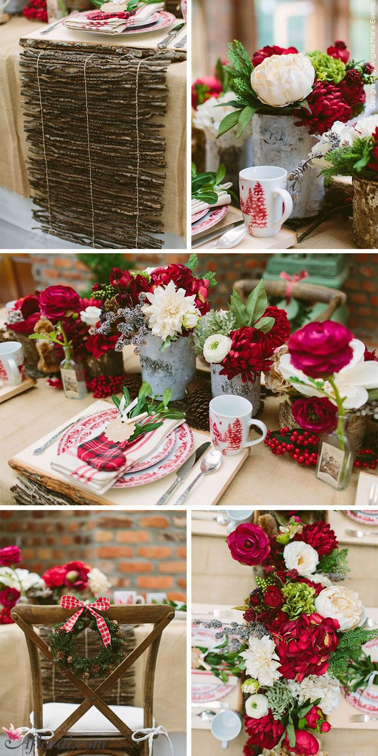 Traditional Red And Green Rustic Lodge Holiday Tablescape Christmas Party Decorations Table Christmas Table Decorations Green Floral Decor