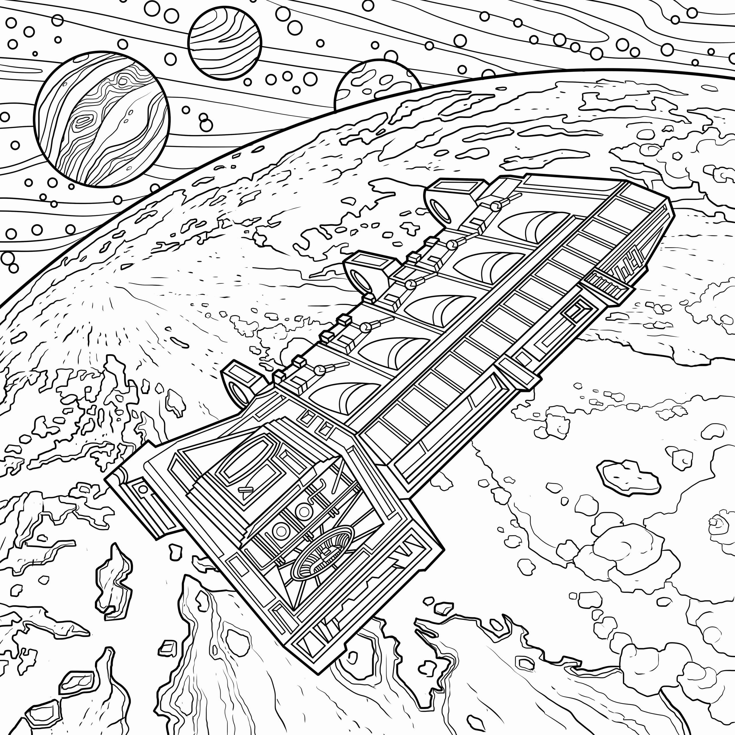 Space Rocket Coloring Page In