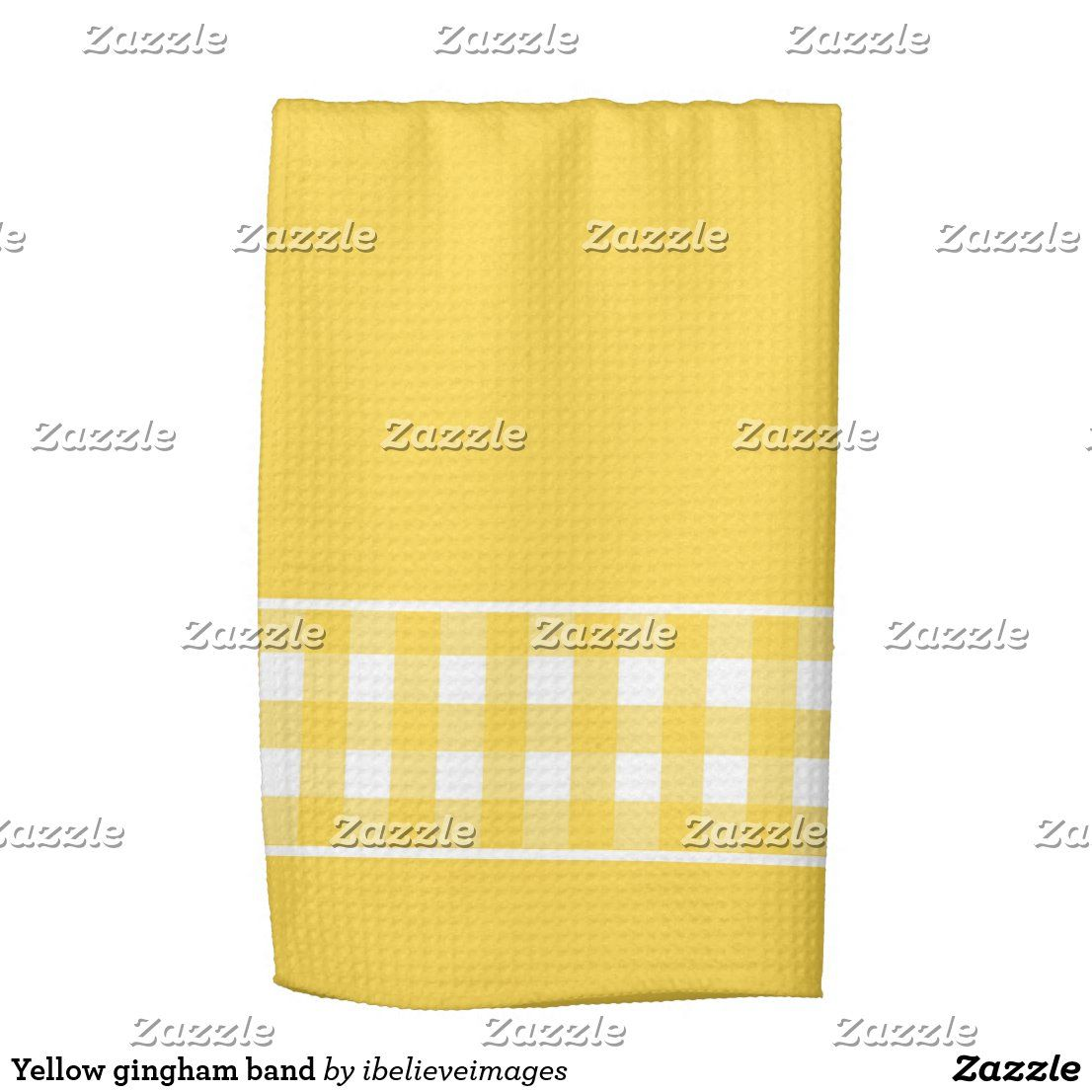 Yellow Gingham Band Kitchen Towel Zazzle Com In 2020 With