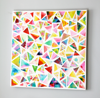 cut up watercolored sheets into triangles & glue down randomlly...quick piece of art for the wall or, in a smaller scale, a lovely modern card...