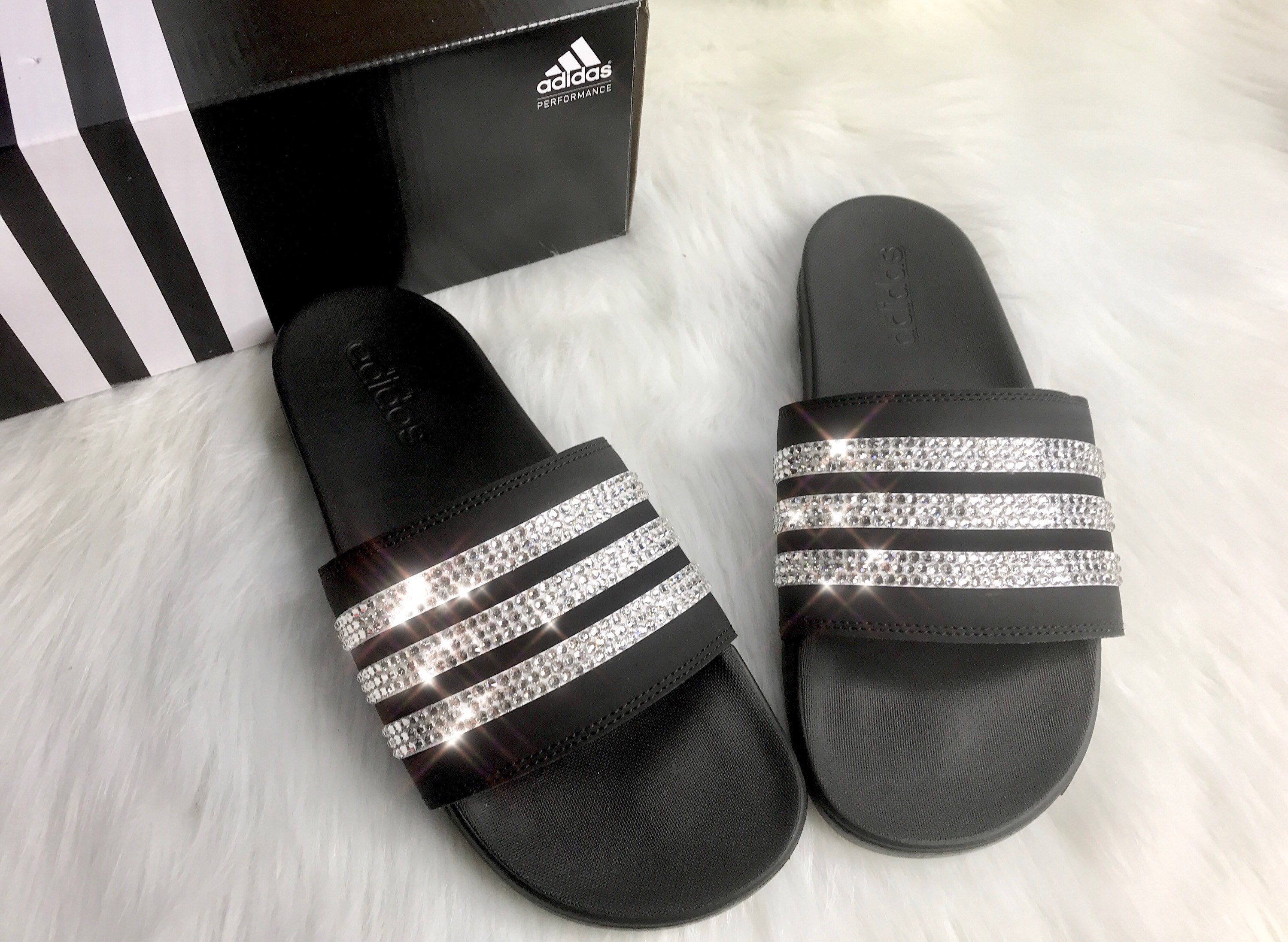 02f5697c7119 Swarovski Crystal Adidas Black Slides Women s Custom Bling Slides