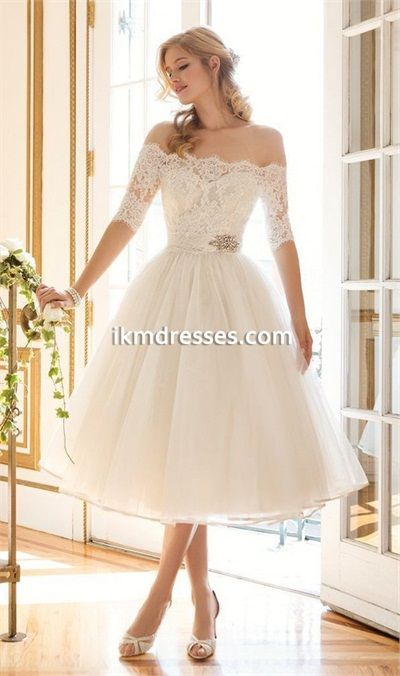 Vintage-Off-The-Shoulder-Short-Lace-Wedding-Dress-Cheap-white-ball ...