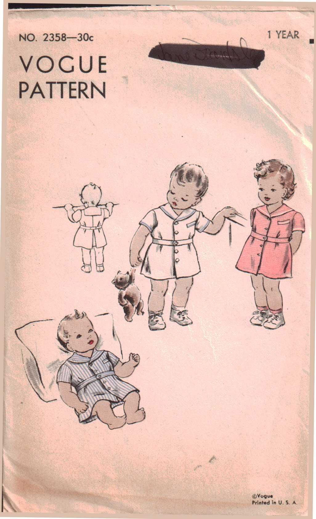 Vogue baby smock size used sewing pattern is