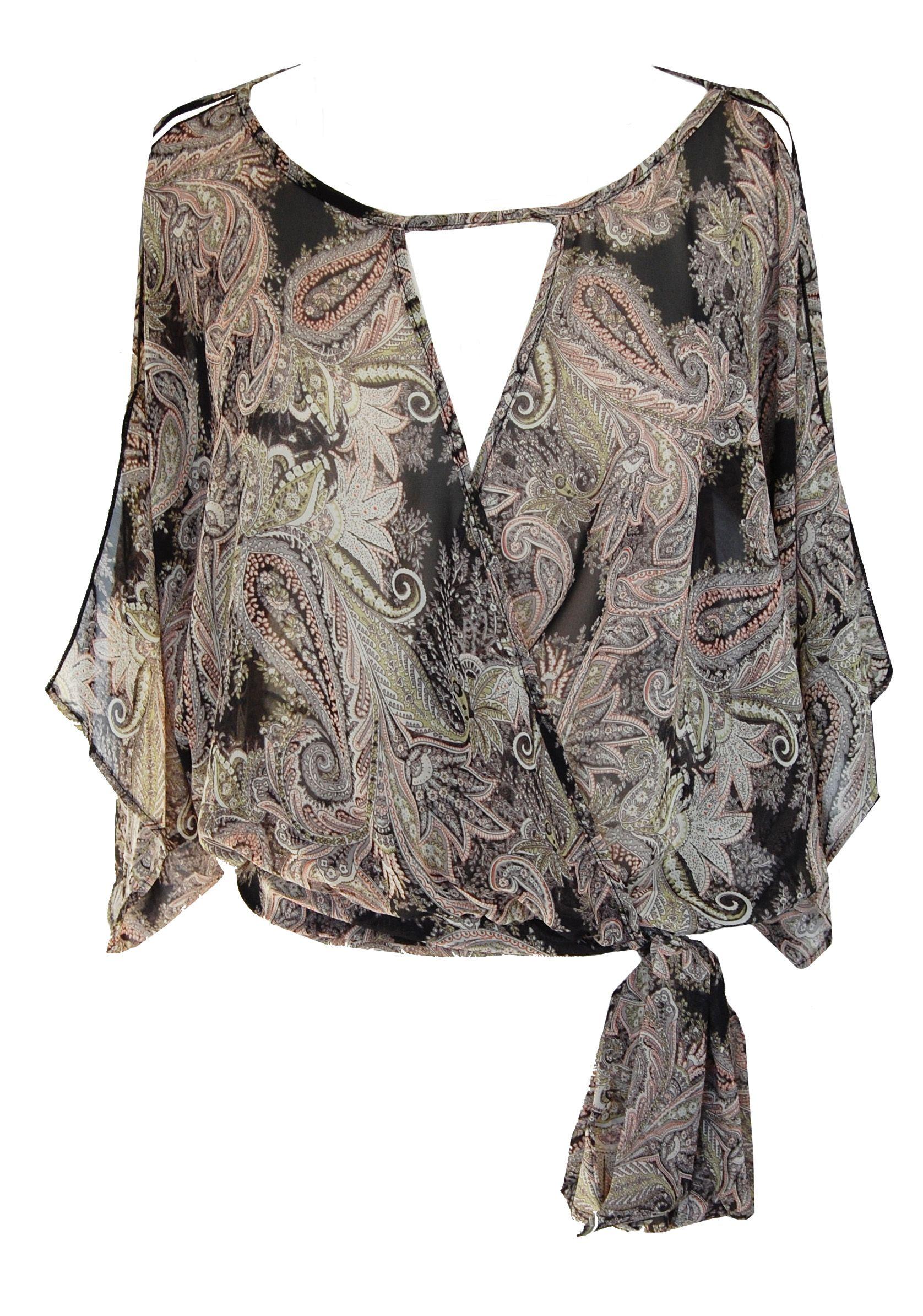 black paisley chiffon blouse
