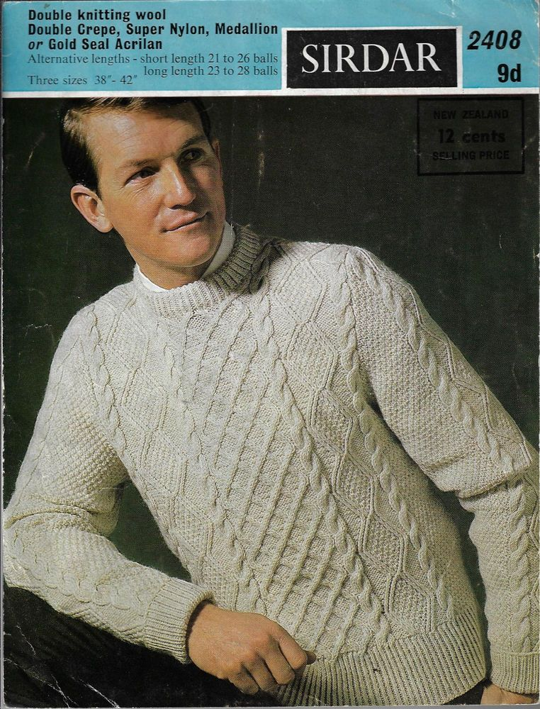 Men\'s Cable Aran Sweater Sirdar 2408 vintage knitting pattern DK ...
