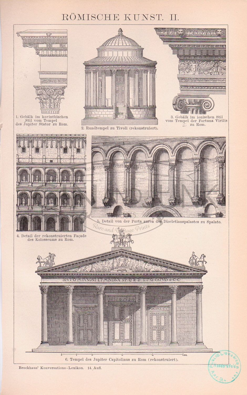 Antique Print Of Ancient Roman Architecture And Sculpture From 1890 European Architecture Italian De Roman Architecture Architectural Prints Architecture Art