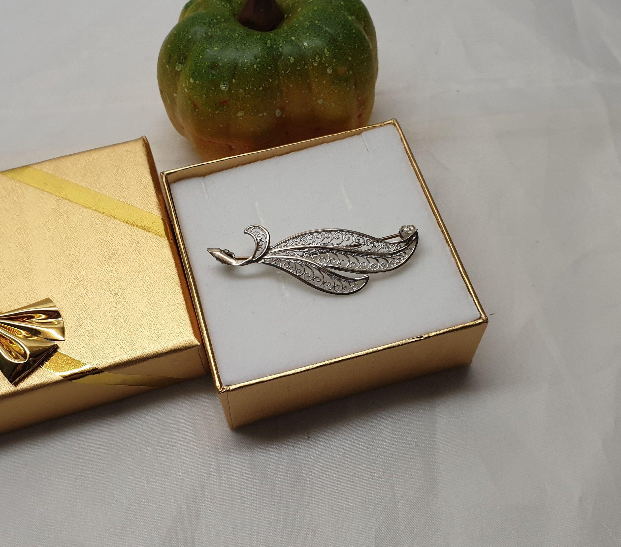 Brosche Anstecknadel Blatt silber Perle Nadel