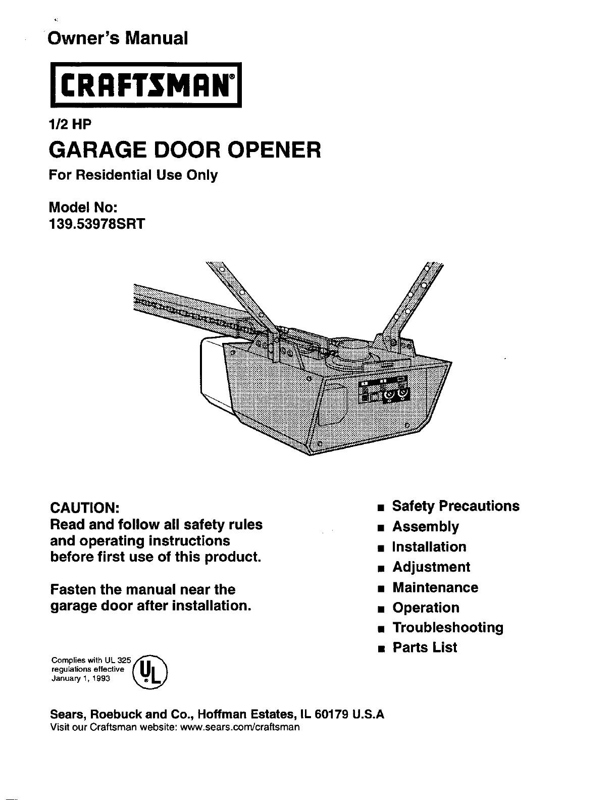 Craftsman Garage Door Opener Reset