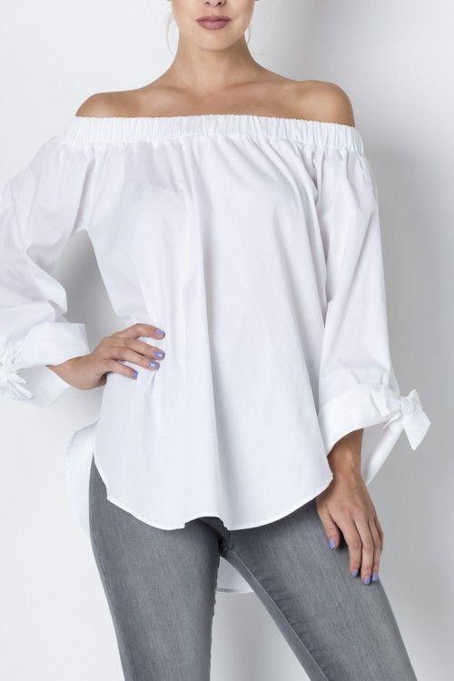 0300350c389932 Off the Shoulder Top   Products   Blusas blancas, Outfits, Blusas