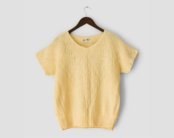 Vintage 1980s oversize yellow cotton knit short sleeve sweater ...