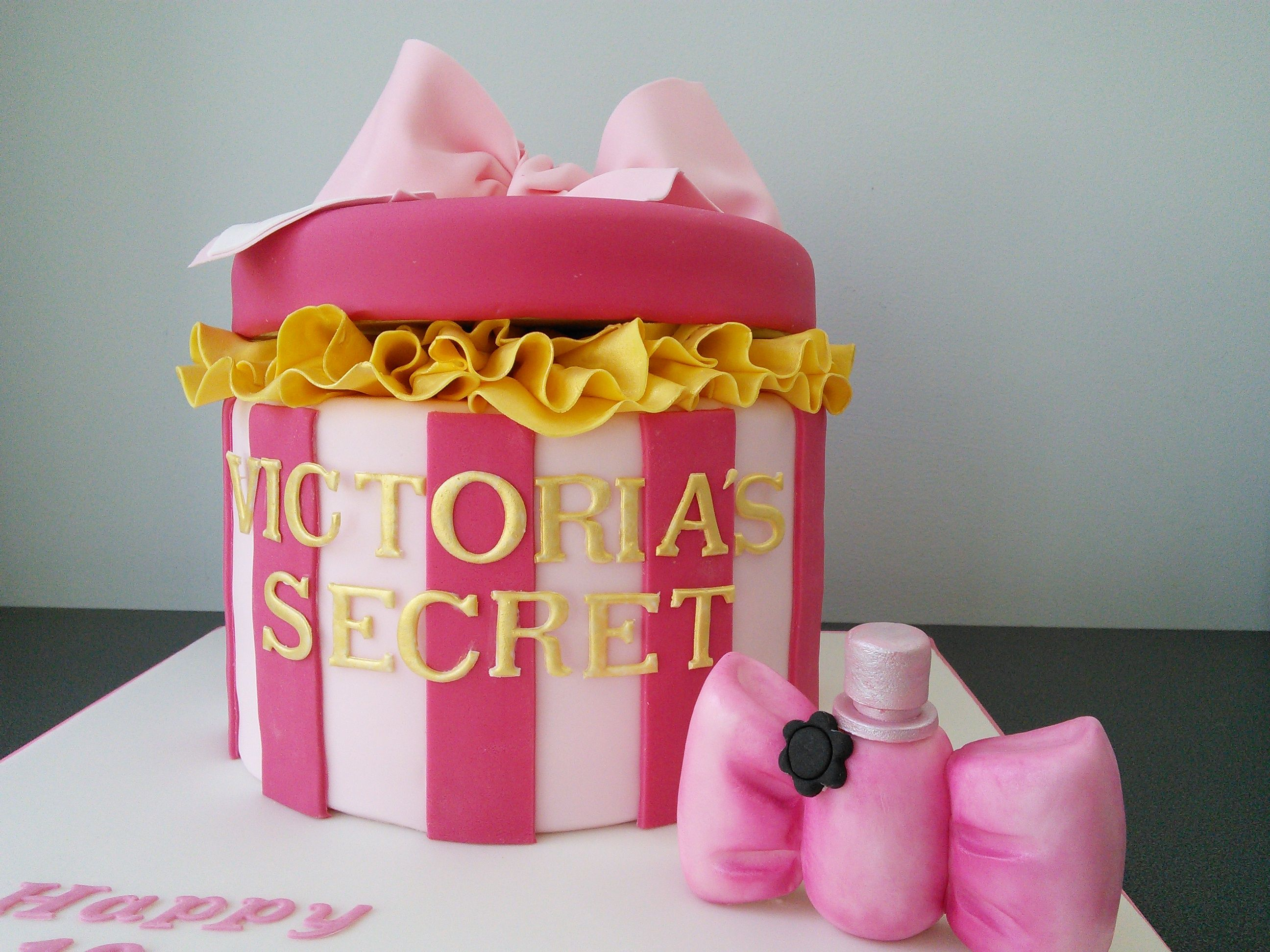 18th birthday, Victoria\'s Secret round box cake with Victor and Rolf ...