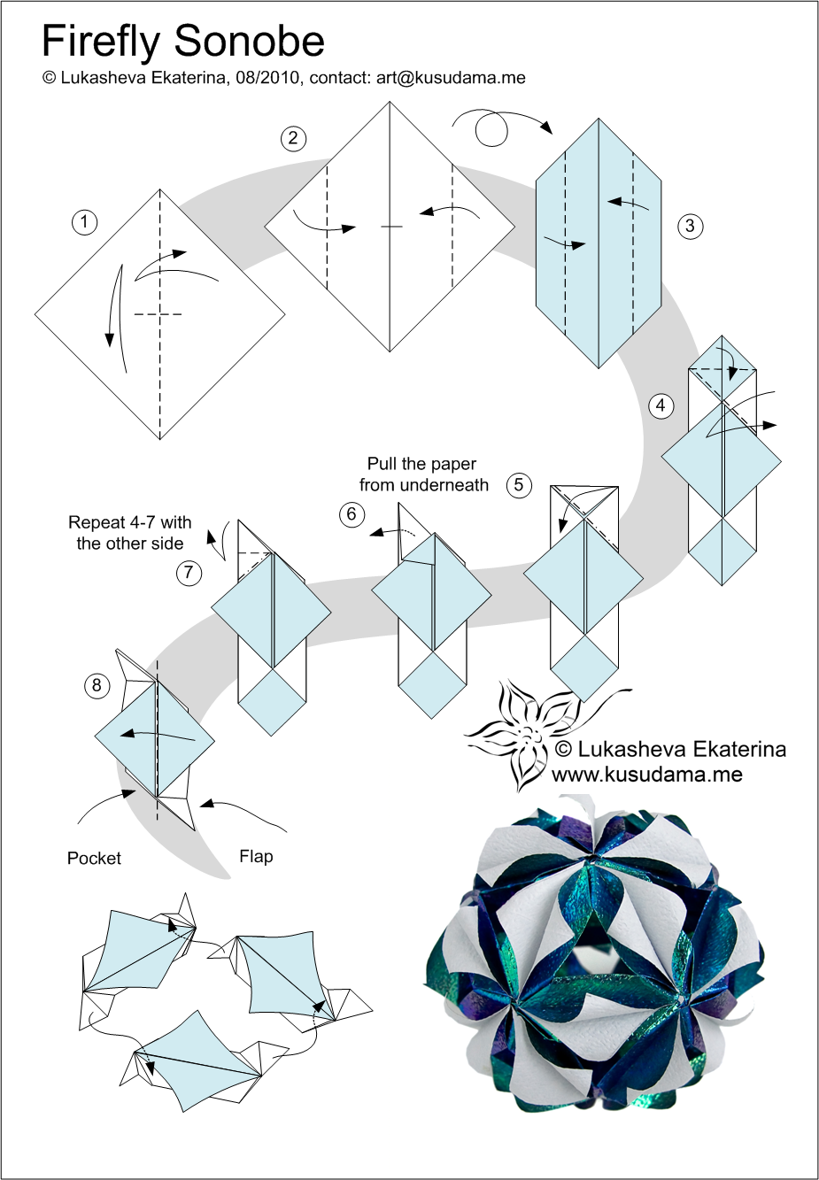 firefly kusudama link instruction links for others [ 925 x 1333 Pixel ]