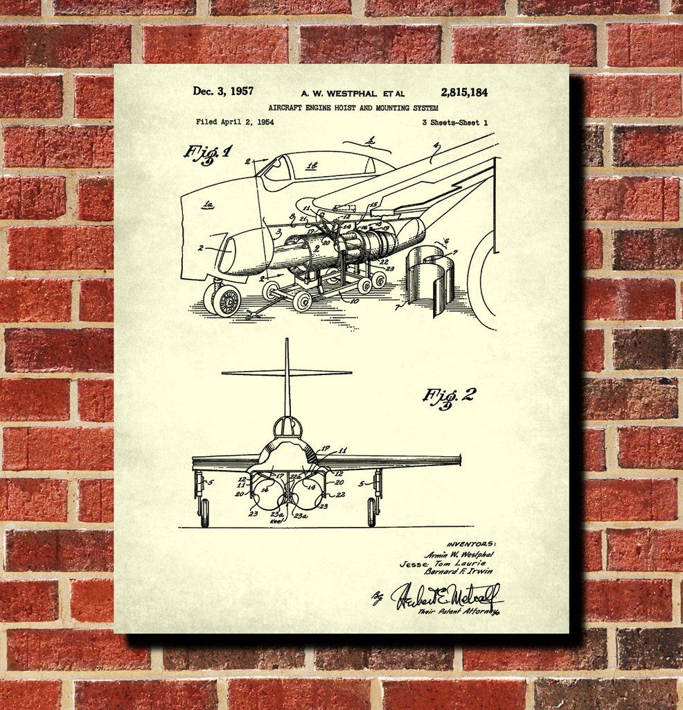 Aircraft blueprint art engine hoist patent print wall art poster aircraft blueprint art engine hoist patent print wall art poster malvernweather Images