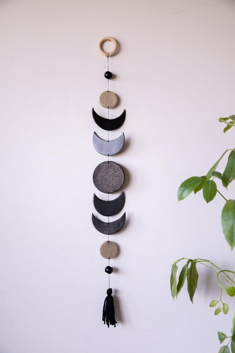 Photo of Moon Phase Clay Wall Hanging, Abstract Wall Hanging, Home Decor Hanging, Wall Decor