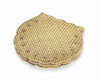 A CONTINENTAL JEWELLED GOLD COMPACT