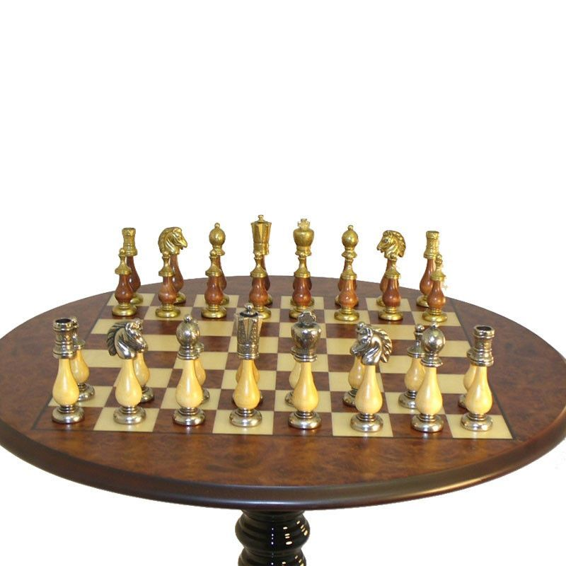 Round Chess Table With Staunton Metal And Wood Pieces