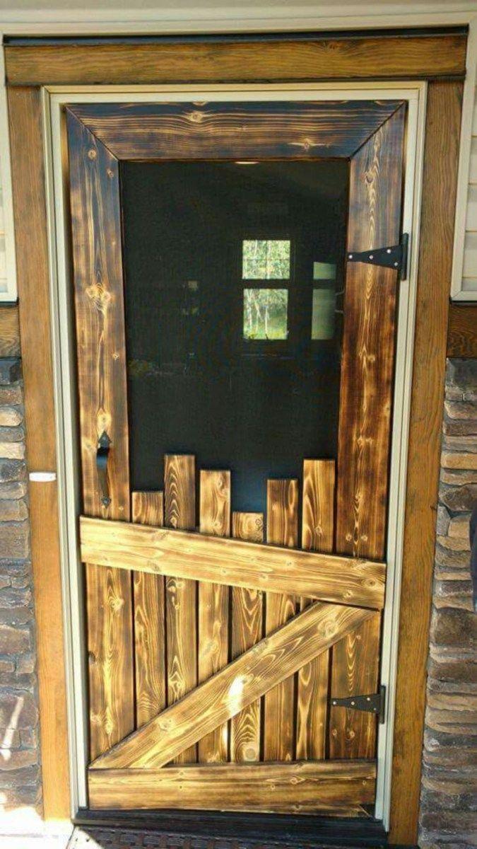 Screen door with diy wood pallet interior barn doors pinterest