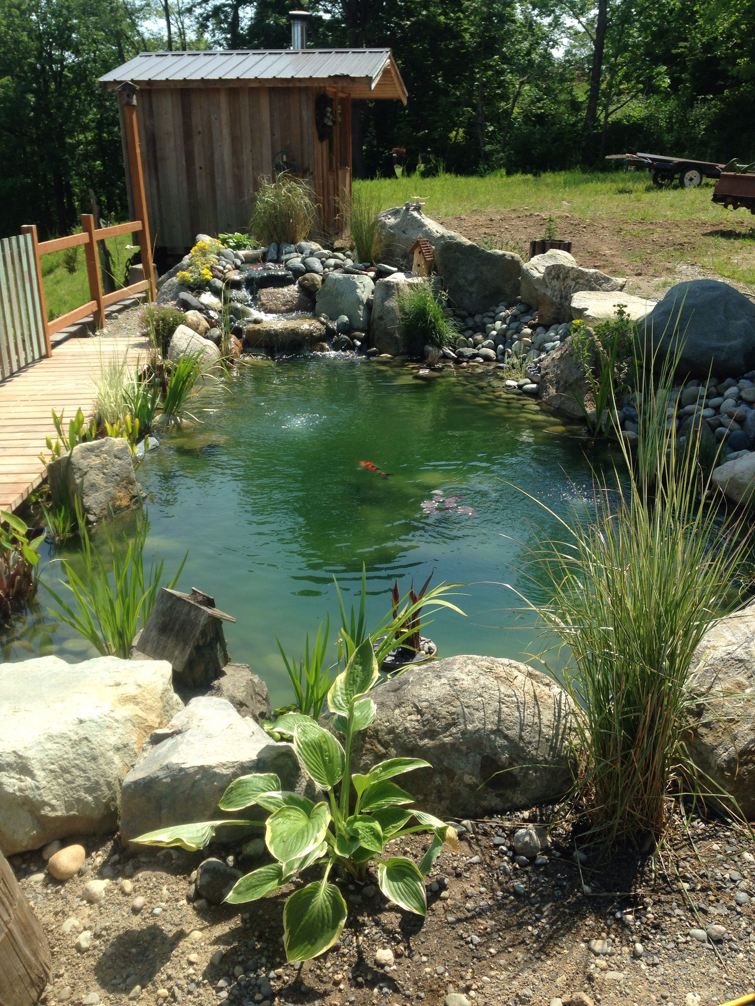 Our new back yard pond. Made and designed by Gordy. So beautiful.  13 koi swimming around