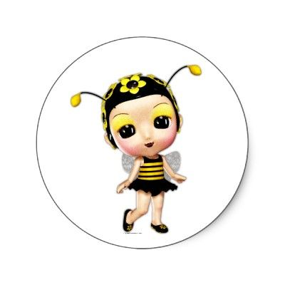 SOLD recently: Little Miss Lady Bumblebee Round Stickers. Thanks so much to the customer. :)
