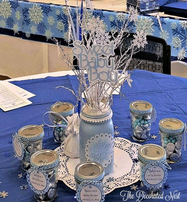 Table Setup Baby Boy Shower Www.thedecoratednest.com