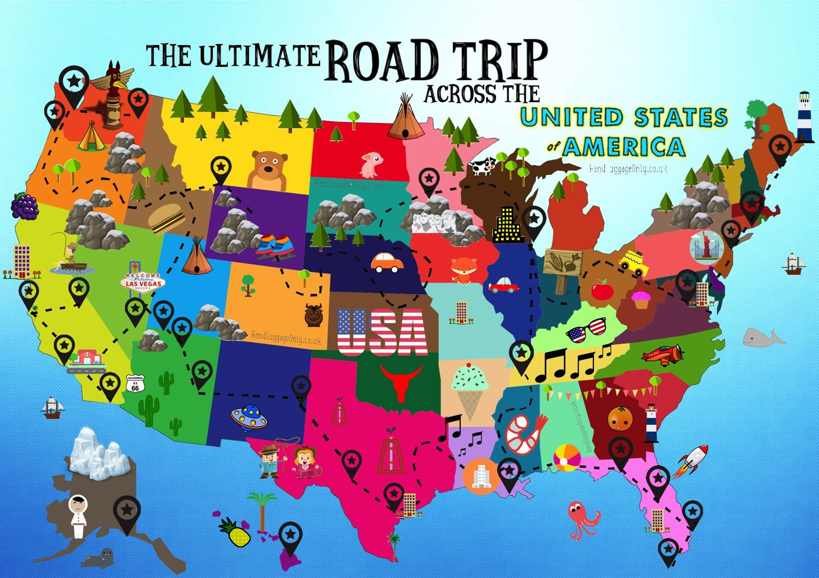 Ultimate Road Trip Map Things To Do In The Usa