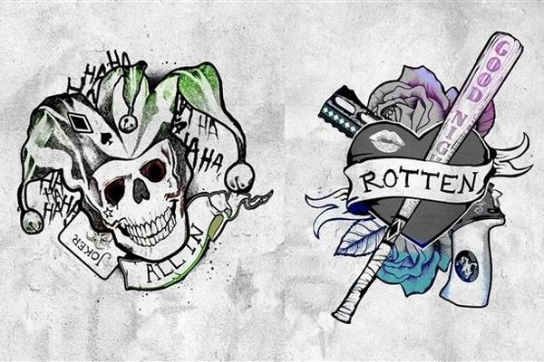 Suicide Squad The Joker And Harley Quinn Tattoo Design border=