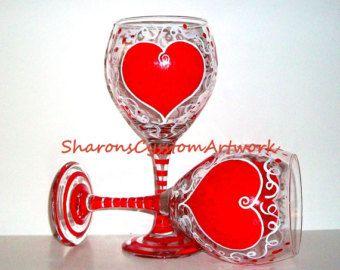sale valentine hearts wine glasses handpainted personalizedvalentines day red hearts - Valentine Wine Glasses