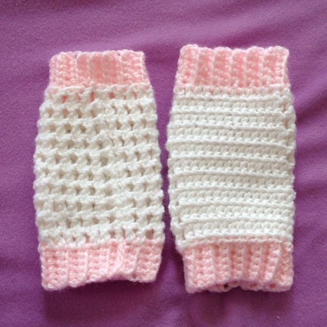 Front and back view of leg warmers I made for a 3 month old ...