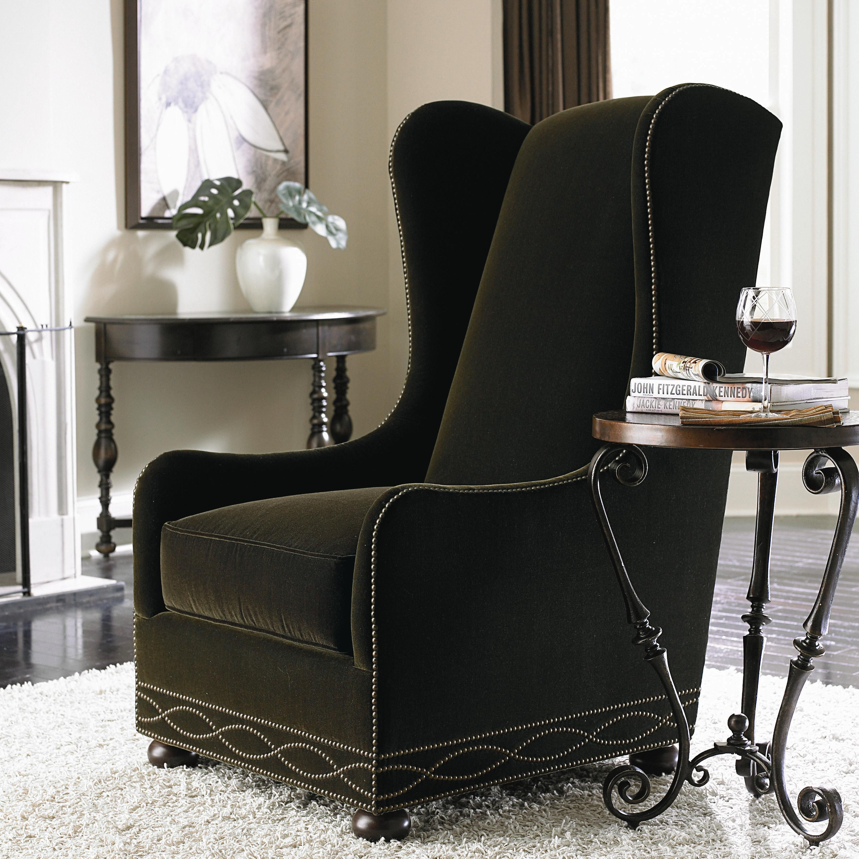 Upholstered Accents Blaine Wing Chair with High Back and Bun Feet by