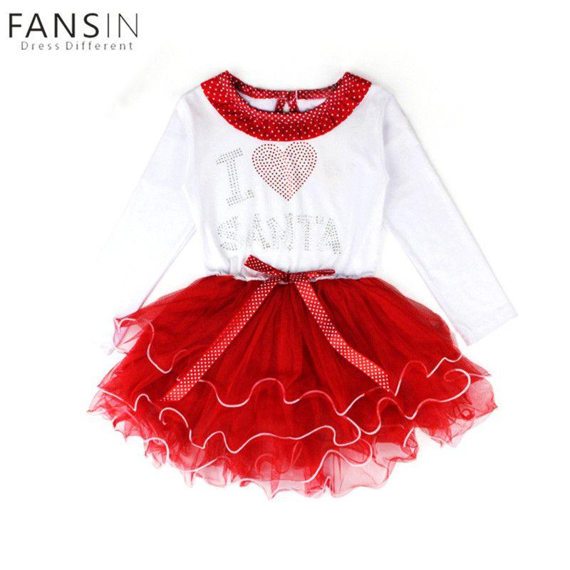 Infant Girl Christmas Ball Gown Princess Dress Long Sleeves I Love ...
