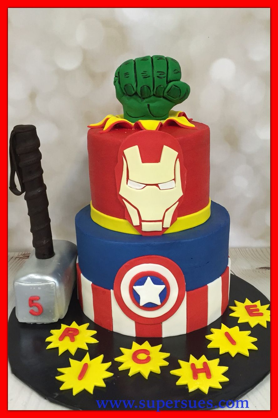 Avengers Theme Two Tier Cake With Edible Thor Hammer And Hulk Fist