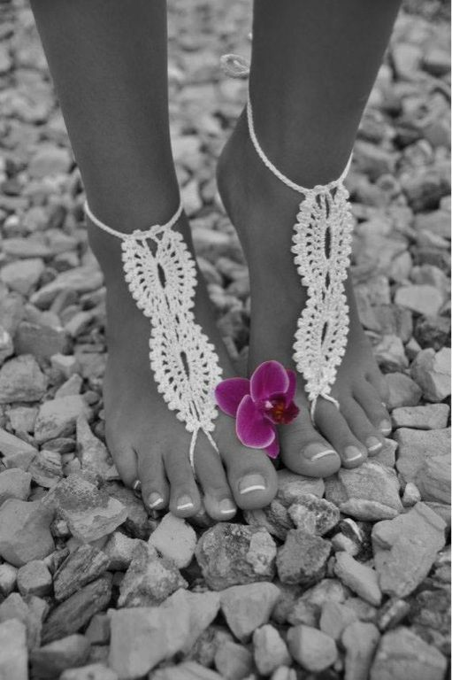 Bridal Barefoot Sandals White crochet barefoot sandals Bridal Foot