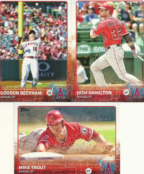 3 2015 Topps Los Angeles Angels Baseball Cards Mike Trout