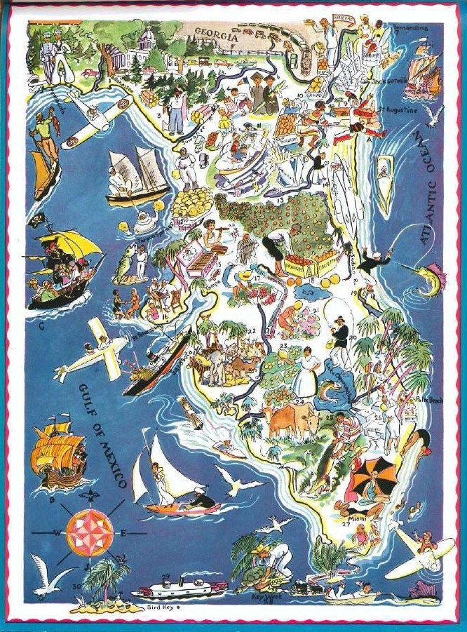 Florida Map Decor Travel Map Art Vintage Map Wall Art Etsy Map Of Florida Map Wall Art Map Art