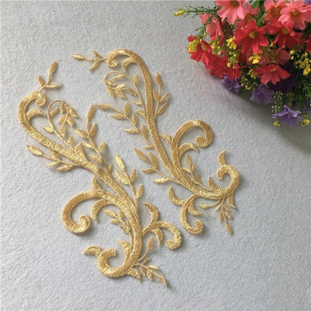 1 Pair Gold Floral Applique Gold Trim Bridal Gown Lace Etsy Lace Bridal Gown Floral Applique Handmade Jewelry Diy