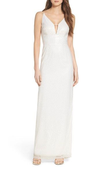 Aidan by Aidan Mattox Embellished Column Dress available at ...