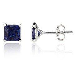 Oorbellen 925 zilver Blue Sapphire 10mm