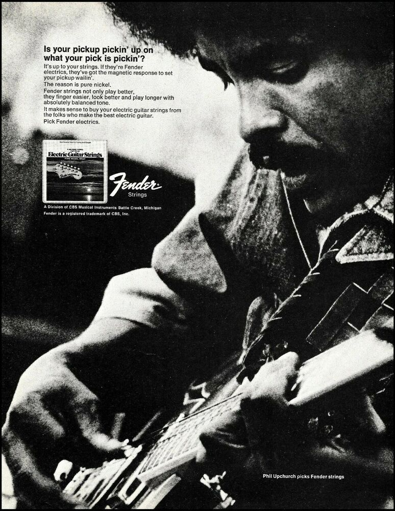 Phil Upchurch 1973 Fender guitar Strings original advertisement 8 x 11 ad print #Fender #fenderguitars