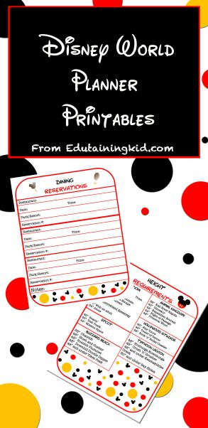 Free Disney Vacation Planner Printables Organize all your important