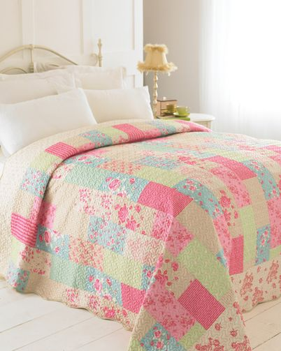 Evie Luxury Patchwork Quilted Bedspread - Single Muli | Home ideas ... : pink quilted bedspread - Adamdwight.com